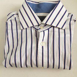 Thomas Dean Men's Shirt 15L Blue White Stripes